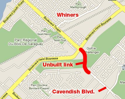 Cavendish extension onto Toupin Blvd.
