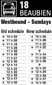 Excerpt of schedule differences for 18 Beaubien