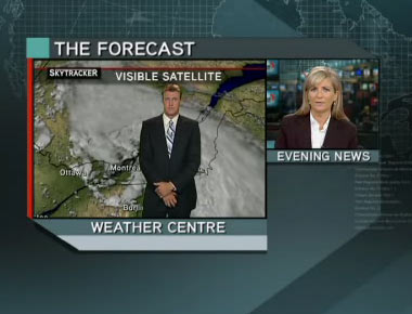 Anthony Farnell doing Global Quebec's local forecast