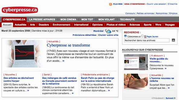 Top of the Cyberpresse homepage