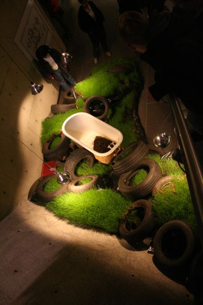 Tires on grass