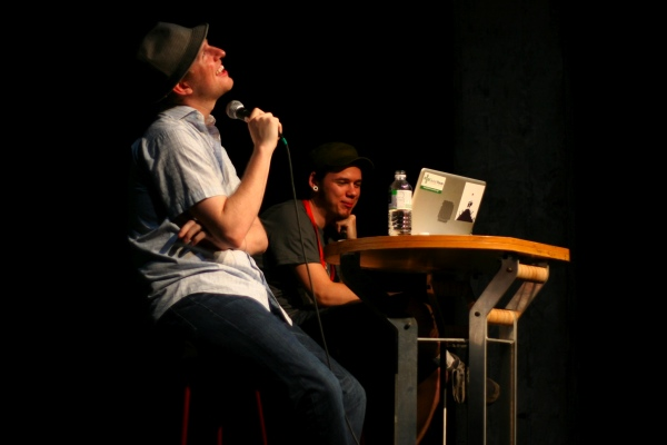 WordPress co-founder Matt Mullenweg (left) with Q&amp;A moderator Jeremy Clarke at WordCamp.