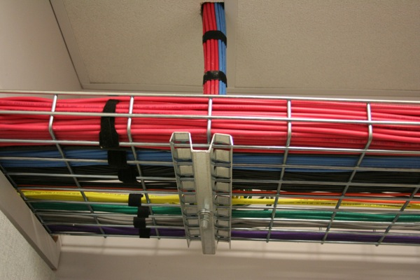 Dozens of cables carry data between various points of the station.