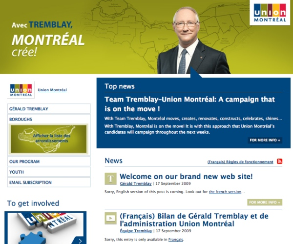 Union Montreal's &quot;English&quot; website