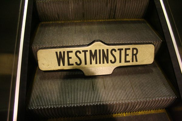 My Westminster sign taking the escalator onto the metro