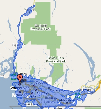 Google Street View map for Vancouver/Whistler/Chilliwack