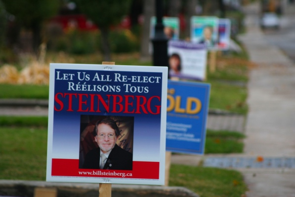 Posters adorn lawns in the heated Hampstead race