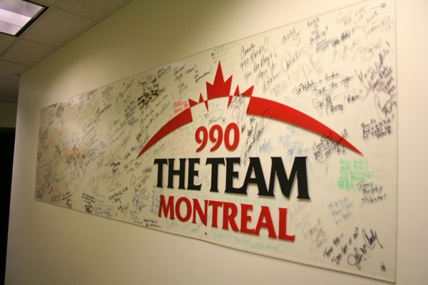 A wall of signatures at the former Team 990 office on Greene Ave. in Westmount.