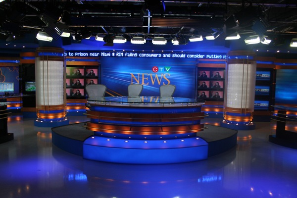Anchor desk with CTV News backdrop