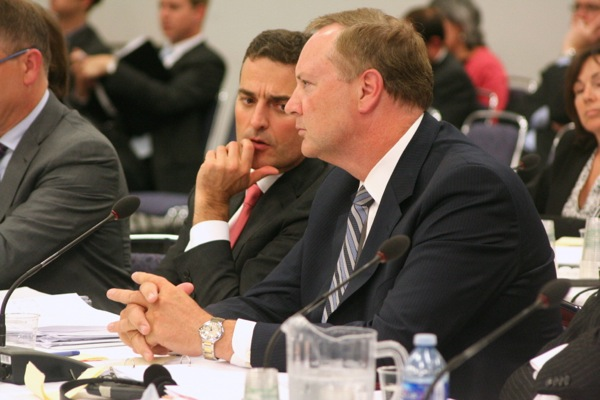 Bell CEO Georce Cope (right) and regulatory head Mirko Bibic will appear in front of the CRTC again to make another proposal to buy Astral Media
