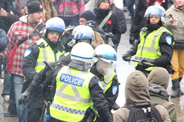 Montreal police arrest themselves after they were found breaking the law on Sunday afternoon. Arrests continued into the night.