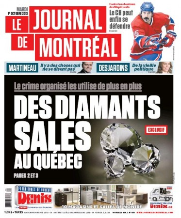 Front page (well, inside front page) of today's Journal de Montréal
