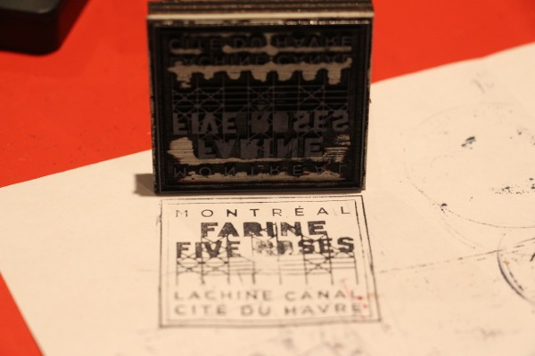 Katie Brioux's Farine Five Roses stamp, based off a similar one she did for a CSU orientation campaign