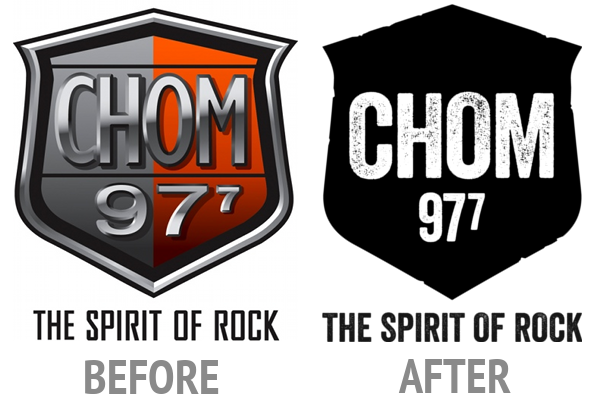 Comparison of CHOM logos. On the left, the one in use since 2010. On the right, the new one just unveiled.