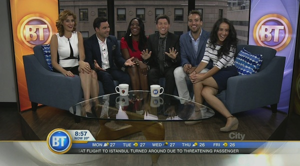 Breakfast Television cast, from left: Joanne Vrakas, Alexandre Despatie, Catherine Verdon-Diamond, Elias Makos, Wilder Weir and Laura Casella